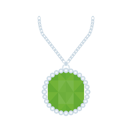jewel: Isolated necklace with a green jewel on a white background