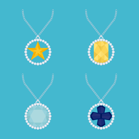 jewels: Set of necklaces with different jewels on a blue background