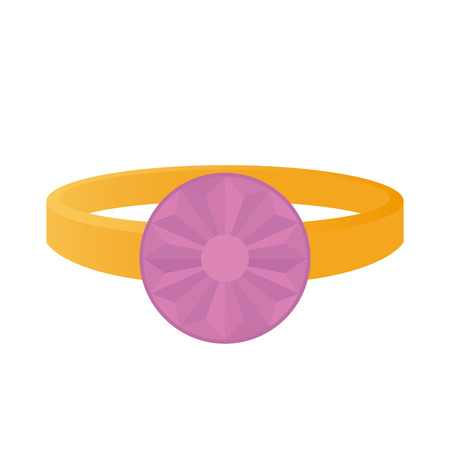 jewel: Isolated ring with a light purple jewel on a white background Illustration