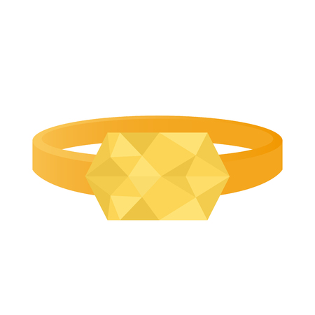 jewel: Isolated ring with a light yellow jewel on a white background