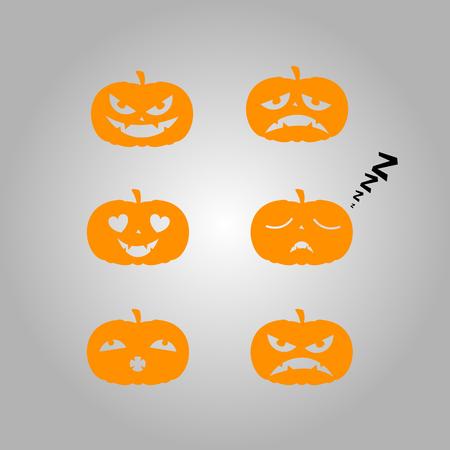 jack o  lanterns: Set of halloween jack o lanterns, Vector illustration