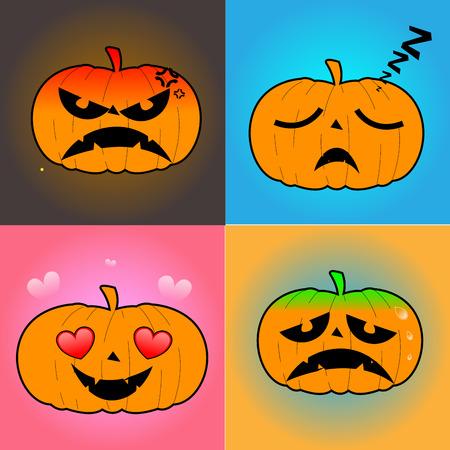 jack o  lanterns: Set of jack o lanterns on colored backgrounds, Vector illustration