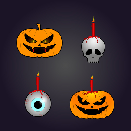 Set of halloween icons on a colored background, Vector illustration