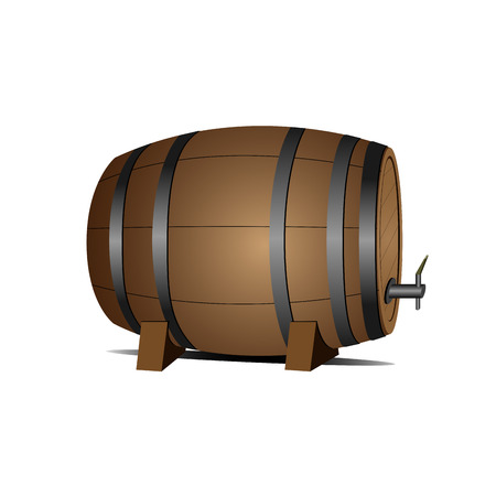 Isolated beer wooden barrel on a white background, Vector illustration Illustration