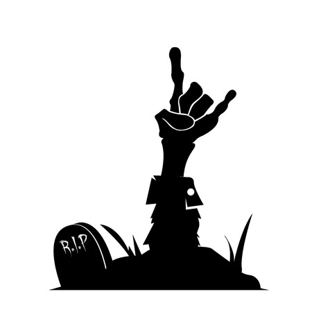 hand silhouette: Isolated silhouette of a zombie hand, Vector illustration