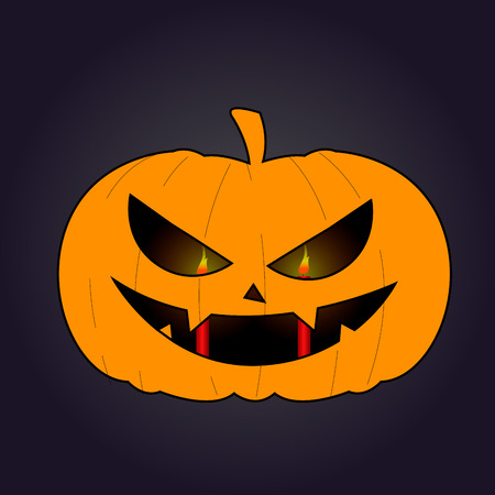Isolated halloween jack o lantern on a colored background, Vector illustration