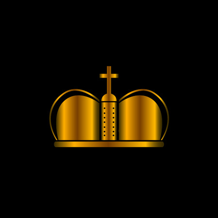 Isolated crown on a black background, Vector illustration Illustration