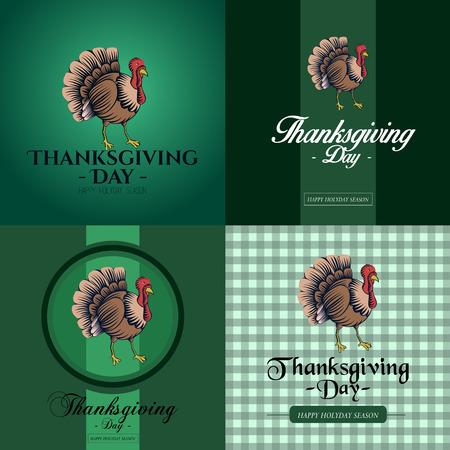 Set of thanksgiving cards with turkeys, Vector illustration Illustration