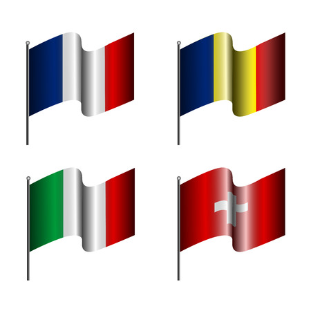 european flags: Set of european flags on a white background, Vector illustration Illustration
