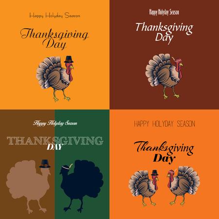 turkeys: Set of thanksgiving cards with turkeys, Vector illustration Illustration