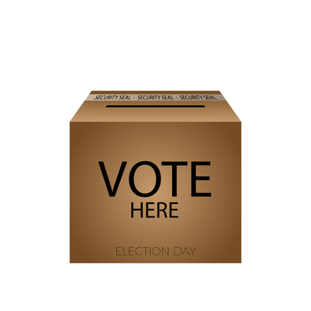 vote here: Isolated box with vote here text, Election day Vector illustration
