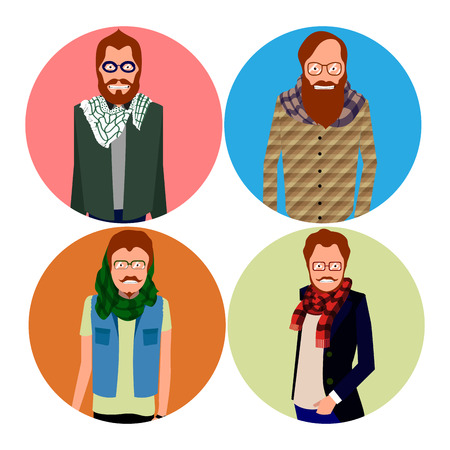 Set of different hipster portraits, Vector illustration