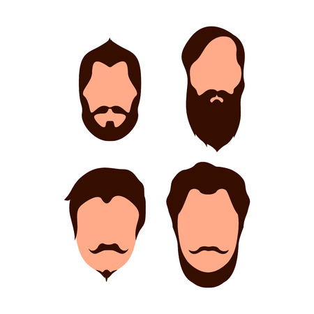 sexy male model: Set of different hipster portraits, Vector illustration