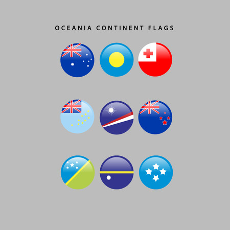 tonga: Set of flags from oceania, Vector illustration Illustration