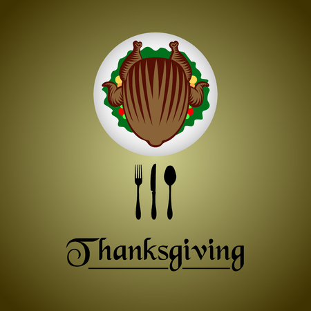 Thanksgiving day banner with a roasted turkey, Vector illustration Illustration