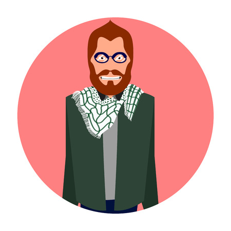 Isolated portrait of a hipster, Vector illustration