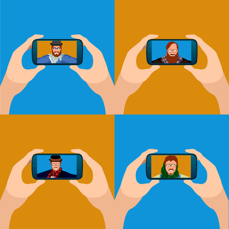 Set of cellphones with different selfies, Vector illustration