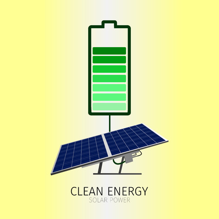 clean energy: Isolated sunlight panel and a battery, Clean energy vector illustration Illustration