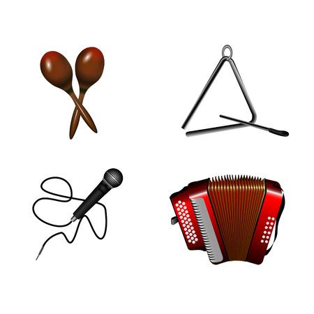 Set of different musical instruments, Vector illustration Illustration