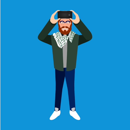 Isolated hipster with a cellphone, Selfie vector illustration Illustration