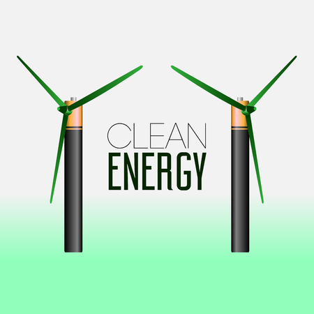 clean energy: Pair of windmills, Clean energy vector illustration