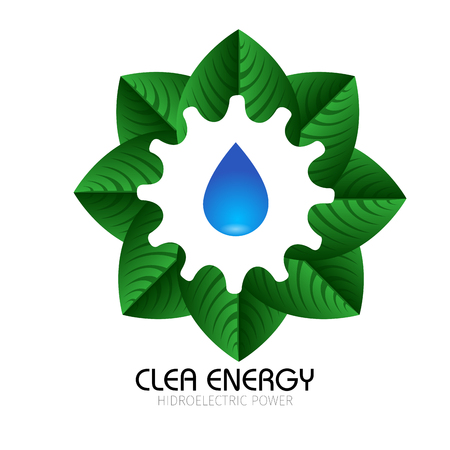 clean energy: Isolated group of leaves and a drop of water, Clean energy vector illustration