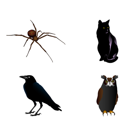 Set of different animals, Halloween Vector illustration