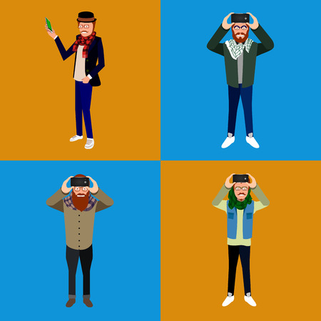 Set of hipsters with cellphones, Selfie vector illustration