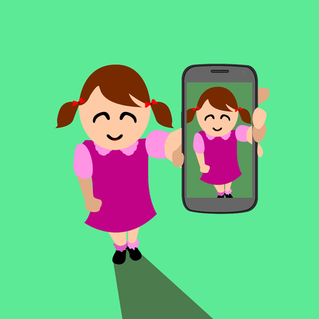 Isolated woman with a cellphone, Selfie vector illustration