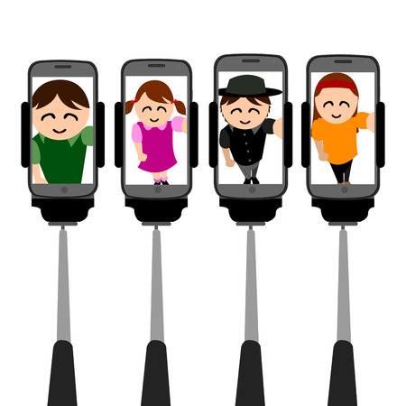 cellphones: Set of cellphones with different selfies, Vector illustration
