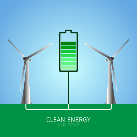 clean energy: Pair of windmills and a battery, Clean energy vector illustration Illustration