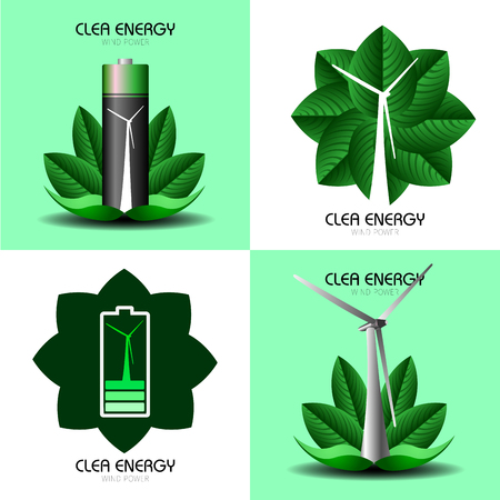 clean energy: Set of clean energy graphic designs, Vector illustration Illustration