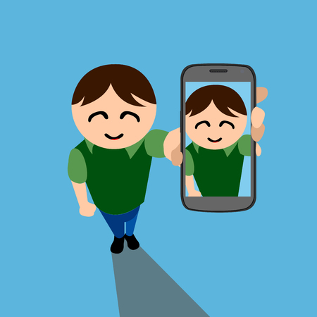 camera phone: Isolated man with a cellphone, Selfie vector illustration
