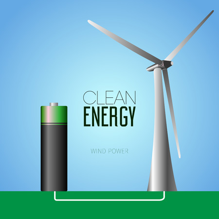 clean energy: Isolated windmill on a colored background, Clean energy vector illustration Illustration