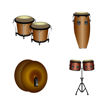 Cymbals: Set of different musical instruments, Vector illustration Illustration