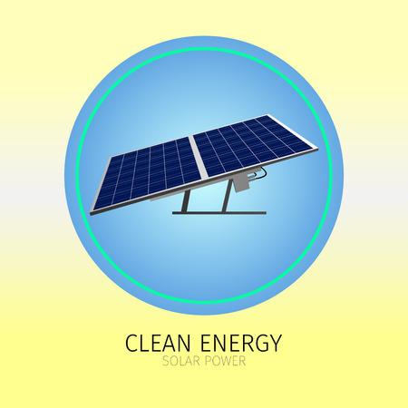 clean energy: Isolated label with a sunlight panel, Clean energy vector illustration Illustration