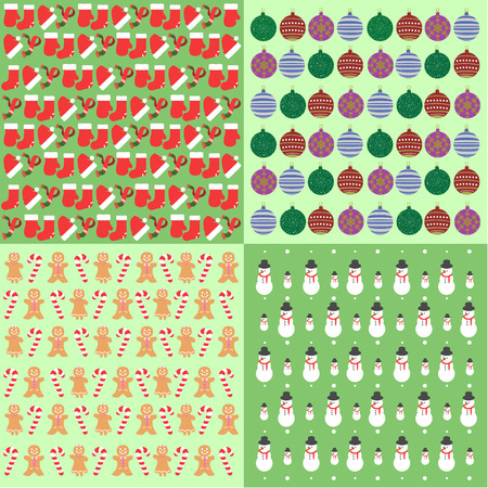 wrap: Set of christmas wrap papers, Vector illustration