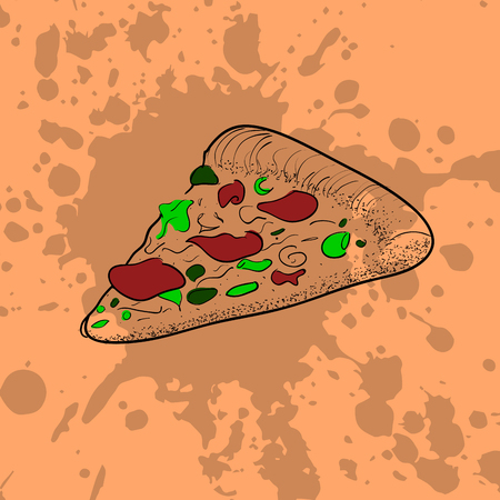 Isolated pizza on a retro background, Vector illustration Illustration