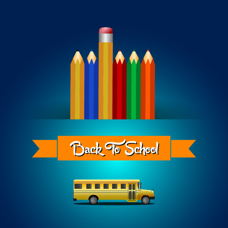 Isolated school bus and some crayons, Vector illustration