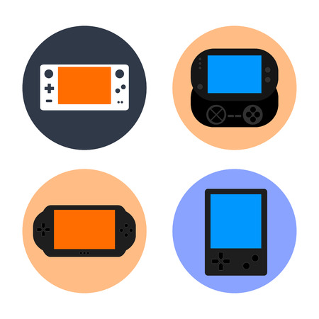 Set of gamepads on colored buttons, Vector illustration