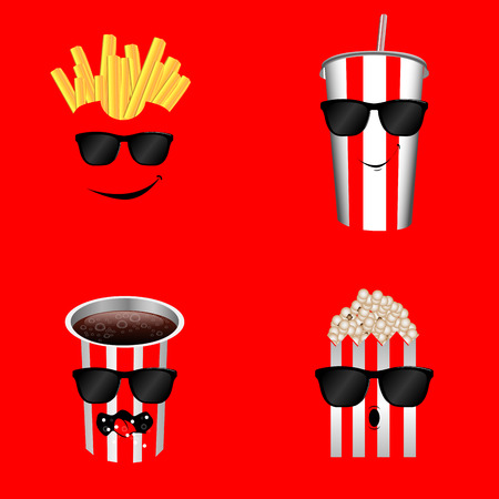 Set of cinema food on a red background, Vector illustration