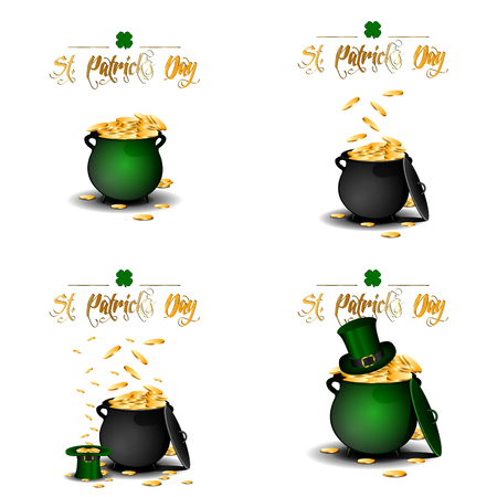 the irish image collection: Set of coin pots, Patricks day vector illustration Illustration
