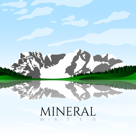 Mineral water graphic design with mountains, Vector illustration