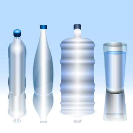 Set of mineral water bottles and glasses, Vector illustration