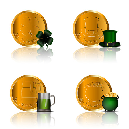 Set of traditional golden coins, Vector illustration