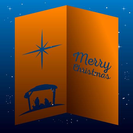 barn wood: Colored manger for christmas celebrations, Vector ilustration