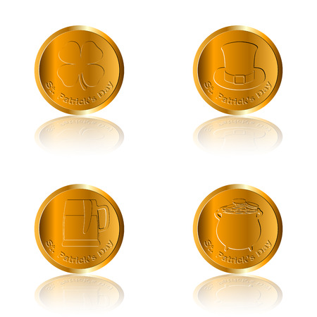 the irish image collection: Set of traditional golden coins, Vector illustration