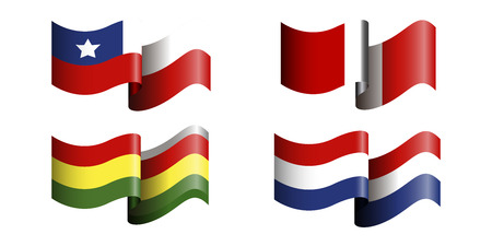 bandera de peru: Set of different flags on a white background, Vector illustration