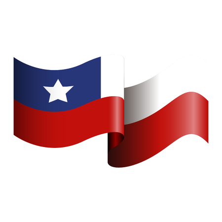 bandera chilena: Isolated Chilean flag on a white background, Vector illustration