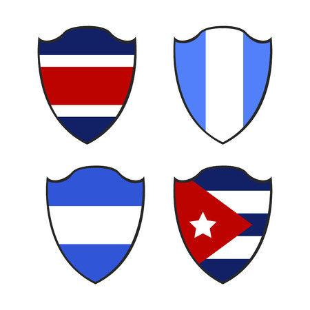 bandera honduras: Set of different flags on badges, Vector illustration
